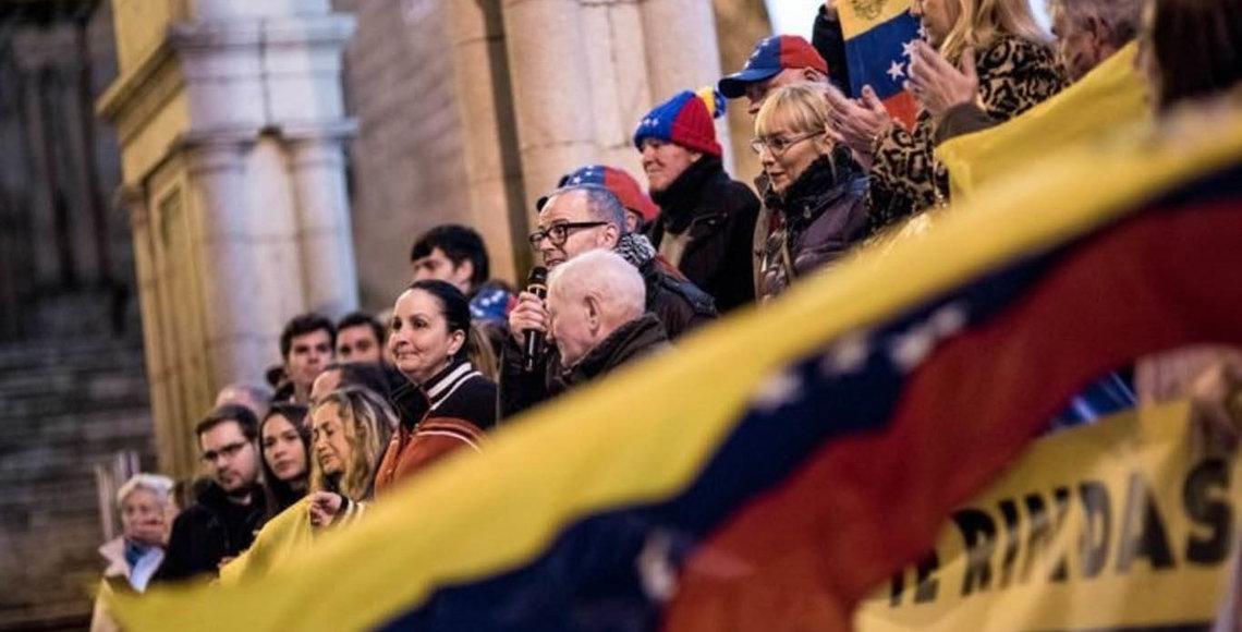 Venezolanos, durante una concentración en Ourense (archivo)