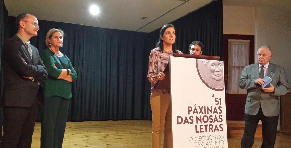 El conselleiro de Cultura, Xesús Vázquez, y la presidenta del Parlamento de Galicia, durante uno de los actos con el que el Centro Gallego inició su campaña a favor de reivindicar a Manuel Rodríguez López.
