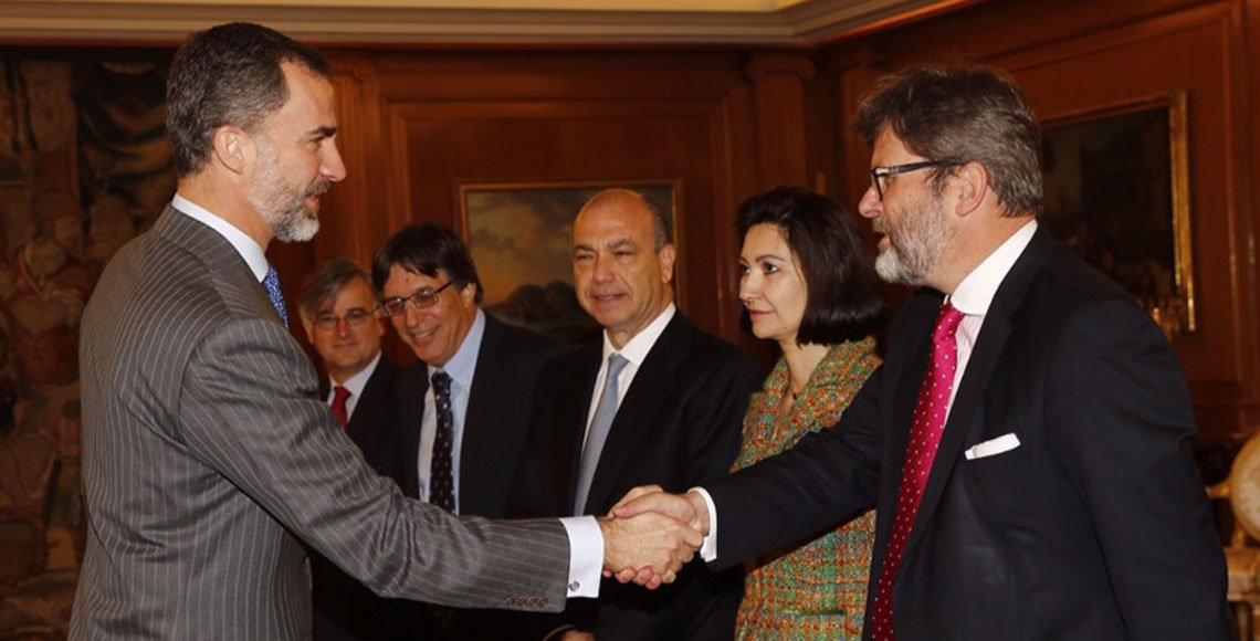 El Rey, Felipe VI, durante su recepción a los representantes de las colectividades sefardíes en todo el mundo.